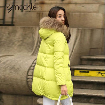 Women's Long Hooded Parka Coats Jackets 2016 Winter Fashion Womans Parkas With Fur Collar Neon Cotton Snow Jacket For Women 4XL
