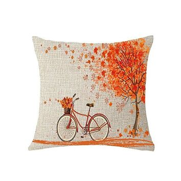 Happy Autumn watercolor Maple Leaf Leaves wreath Fall Throw Pillow Cover