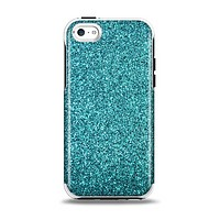 The Teal Glitter Ultra Metallic Apple iPhone 5c Otterbox Symmetry Case Skin Set
