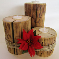 Nautical Candle Holders, Natural Candle Holders, Rustic Candle Centerpiece, Rustic Candle Holder Set of 3