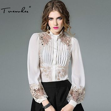 Truevoker Spring Designer Blouse Women's High Quality Puff Sleeve Stand Collar Gold Embroidery Bodysuit Shirt Tops