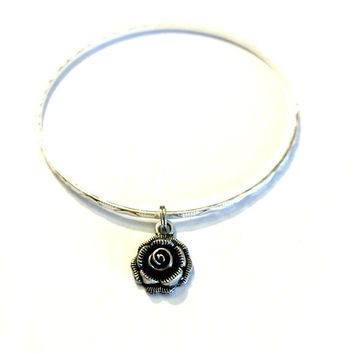 Silver Rose Charm Alex and Ani Inspired Stackable Bangle Bracelet