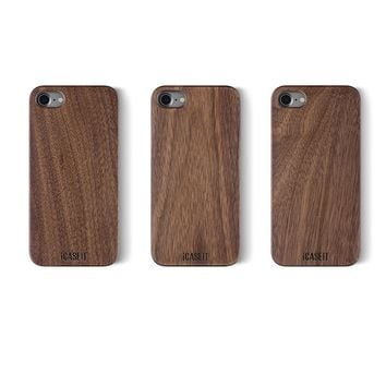 iPhone 8 / iPhone 7 WOOD Case - iCASEIT Slimfit Lightweight Unique Grain Hybrid Snap-On Protective Shockproof Drop proof Bumper Protection Real WOODEN Cover for Phone 8 / 7 - FB0311 - Walnut