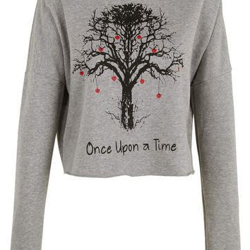 Once Upon a time tree print crop top shirt womens ladies crop sweat