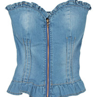 Blue Ruffled Strapless Denim Cropped Top with Front Zip