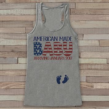 American Made Baby - Pregnancy Announcement - New Mom 4th of July Tank - Grey Flowy Tank - Pregnancy Fourth of July Shirt - Mom to Be Tank
