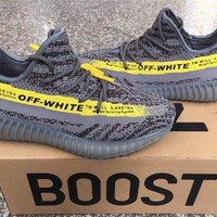 OFF White x Adidas Yeezy 350 V2 Boost Gray/Yellow 36-46