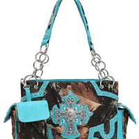 Western Style Camouflage Print Rhinestone Cross Handbag in Turquoise M