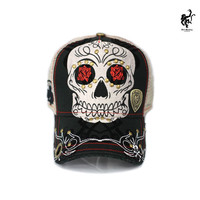 Red Monkey Sugar Skull Black Trucker Hat