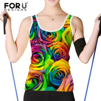 FORUDESIGNS Women Tank Tops Bright Rose Floral Prints Ladies Short Tops Sexy Vest 2017 Summer Casual Women Tanks Cropped Tops