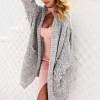 Grey Oversized Pocket Cardigan