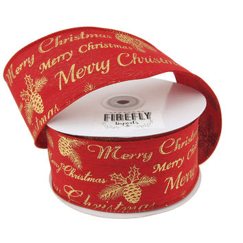 """Merry Christmas"" Linen Holiday Ribbon Wired Edge, 2-1/2-Inch, 20 Yards, Red"