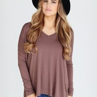 Cocoa PIKO V-Neck Long Sleeve Top