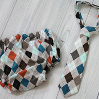 Baby Boy Neck Tie and Diaper Cover Set. Argyle with Gray and other colors- photo prop Birthday Cake Smash Set. Church, Wedding Tie