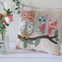 Floral Owls Cushion | Homely Hearts