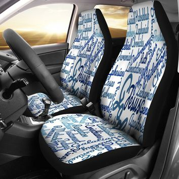 Custom-Made Holy Bible Books White Blue Car Seat Cover