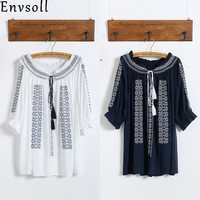 Envsoll 2018 New Summer Maternity Blouse Floral Embroidery Loose Shirts Casual Shirt Tops Maternity Clothes for Pregnant Women