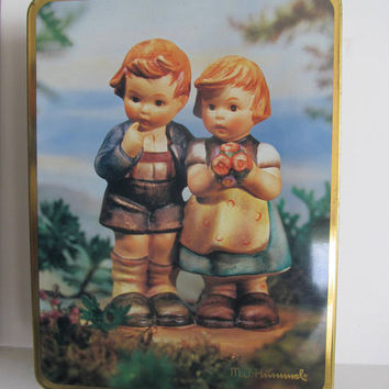 Hummel Figurine Tin Box Hummel Girl and Hummel Boy Goebel Hummel Figurines Hummel Tin Box Collectible Tins English Germany Figurines Hummels