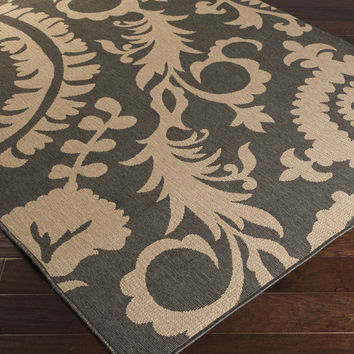 Alfresco Area Rug (Outdoor Rugs) | Black Ikat and Suzani Rugs Machine Made | Style ALF9615