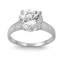 A Perfect 3CT Round Cut Solitaire Russian Lab Diamond Engagement Ring
