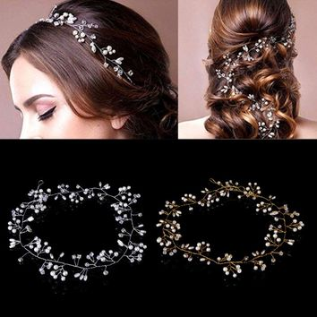 JAVRICK Luxury Rhinestone Faux Pearl Headband Tiara Hair Chain Headpiece Wedding Bridal Hairwear