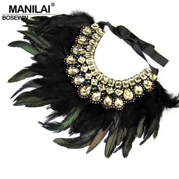 Indian Design Maxi Jewelry Exaggerate Black Feather Statement Crystal Collar Necklaces & Pendants Fashion Chokers Necklaces 2016
