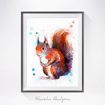 Red squirrel watercolor painting print, Red squirrel art, animal art, illustration, animal watercolor, Squirrel painting, art print
