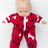 "American Girl Bitty Baby Clothes 15"" Doll Clothes Burgundy Red Paw Print Winter Dog Bone Zip Up Polar Fleece Pajamas Pjs Sleeper"