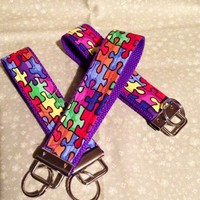 Autism Awareness Puzzle pieces Wrisylet Key Fob Key Chain