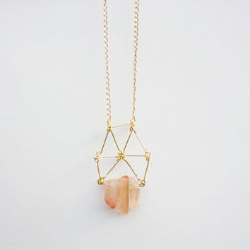 Tangerine Strawberry Quartz Crystal Point Trio with Wire Triangles Necklace on Gold Chain