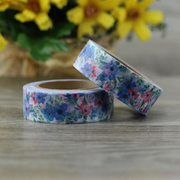 2017 DIY Japanese Paper Blue Flower Washi Tape Paper Masking Tapes Adhesive Tapes Stickers Decorative Stationery Tape 1.5cm*10m