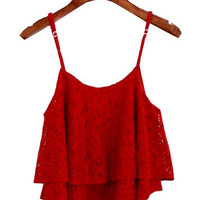 Solid Color Spaghetti Strap Lace Tank Top