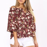 Katelyn off Shoulder Top - Burgundy