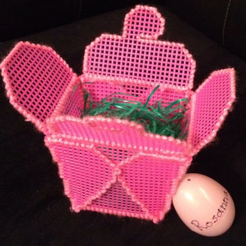Pink Plastic Canvas Takeout Box with Matching Personalized Egg