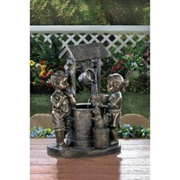 Children At The Wishing Well Garden Water Fountain w/ Electric Pump