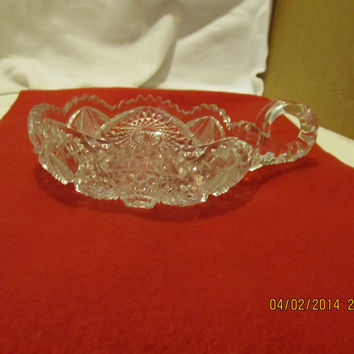 VINTAGE NUCUT NAPPY WITH HANDLE AND FLUTED EDGES MADE IN THE USA BY IMPERIAL GLASS CO.