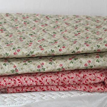 Padded Quilting Remnants 3 Pieces Floral Designs Red/White (1) , Pink Navy & Green (2) , Padded Fabric Quilting Small Print