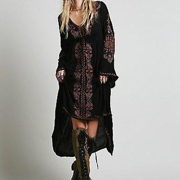 free people fashion deep v neck retro ethnic embroidery loose long sleeve irregular maxi dress