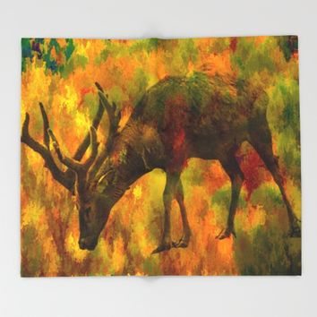 Camouflage Deer Throw Blanket by Scott Hervieux