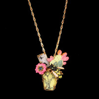 Bee and Cactus Statement Pendant Necklace