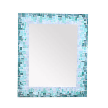Sunburst Mirror in Glass Mosaic Tiles of Blue, Green and Grey Glass Tiles – 4 Sizes Available
