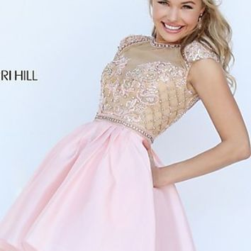 Long Sheer Open Back High Neck Prom Dress by Sherri Hill
