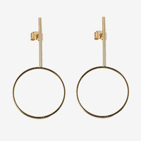 Bar Stud Hoop Earrings