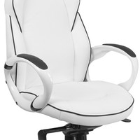 High Back White Vinyl Executive Swivel Office Chair with Black Trim