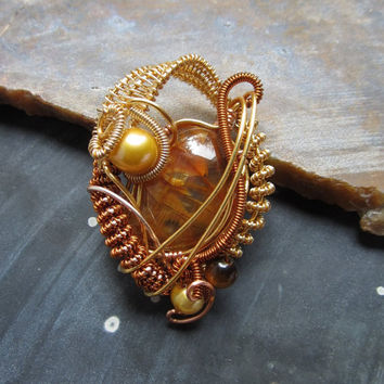 Wire Wrapped Pendant in Copper with Carnelian