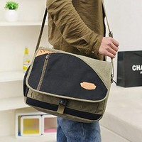 Vere Gloria Mens Retro Canvas Messenger Bag Large Capacity 14 Inch Laptop Cross Body Bags Casual Spell Bag Fit for Ipad Mini