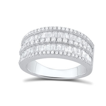 Sterling Silver Simulated Diamond Baguette Cut Statement Ring