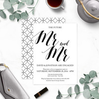 Rustic Chic Gay Mr. and Mr. Engagement Party Invitations-Calligraphy Engagement Party Invites-Engagement Party Printable-DIY