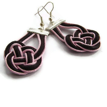 Sailor knot earrings, statement jewellery, macrame, brown&pink, gift for her