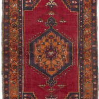 "Hand-knotted Turkish Carpet 3'7"" x 6'5"" Anatolian Vintage Traditional  Wool Rug"